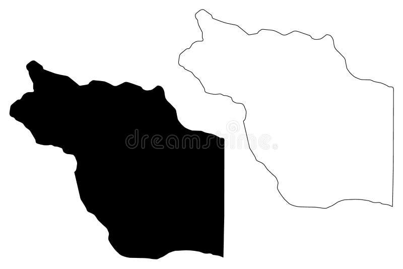 Jufra District Districts of Libya, State of Libya, Fezzan map vector illustration, scribble sketch Jofra map.  royalty free illustration