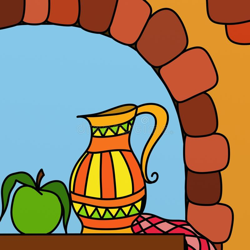 Download Jug and apple stock illustration. Illustration of apple - 17534093
