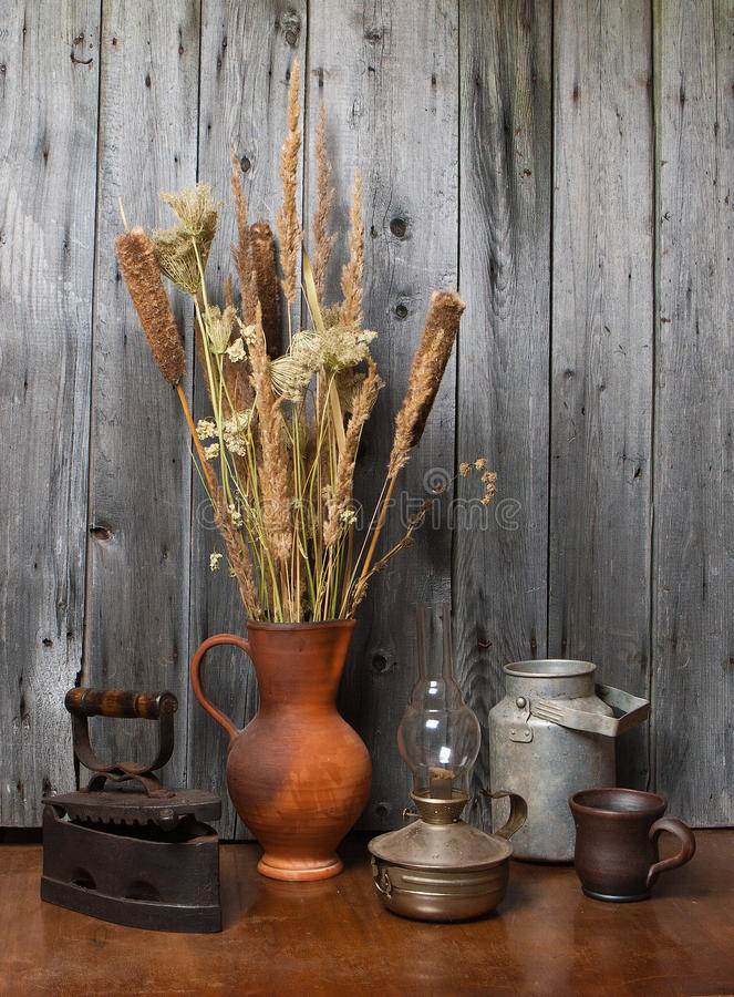Download Jug With  Dry Reeds And Old Things Stock Photo - Image: 21641240