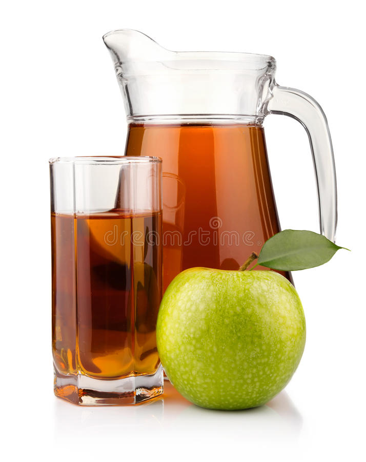 Jug and glass of green apple juice isolated royalty free stock photos