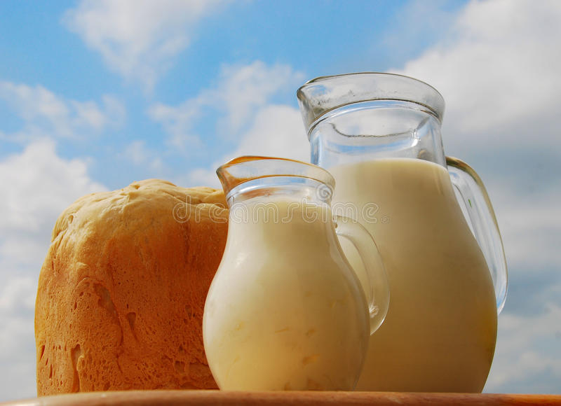 Jug With Milk And Bread Royalty Free Stock Image