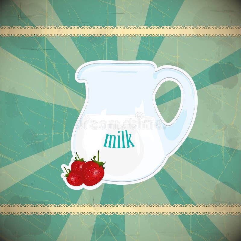 Jug of milk  on vintage background