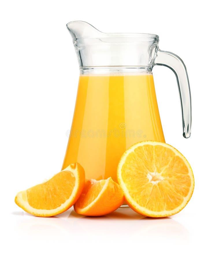 Free Jug Of Orange Juice And Orange Fruits Isolated Stock Photo - 18858450