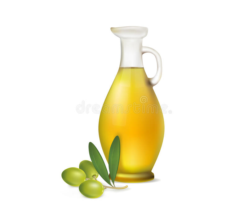 Jug of olive oil and olive branch on a white background royalty free stock photography
