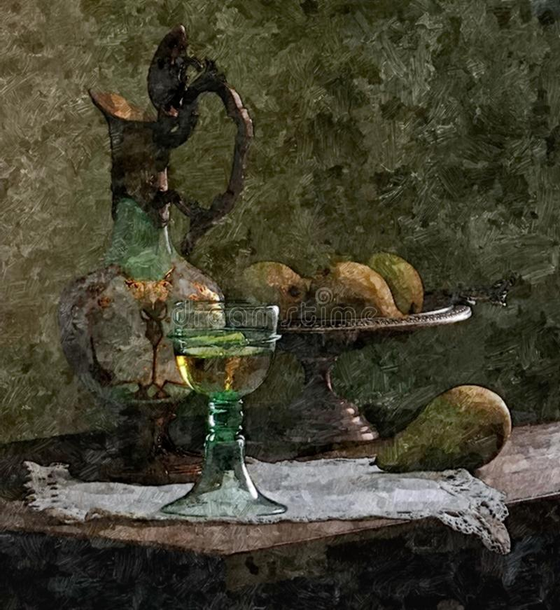 Jug of young wine, pears. Rustic still-life. Painting wet watercolor on paper. Naive art. Drawing watercolor on pape royalty free illustration