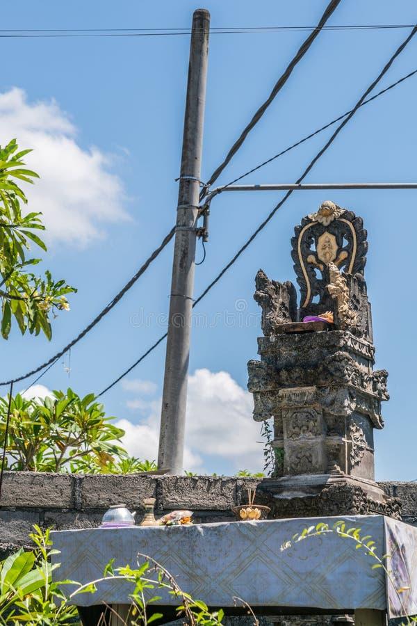 Hindu shrine at Sari Pertiwi Wood Carving business, Juga, Bali, Indonesia stock photo