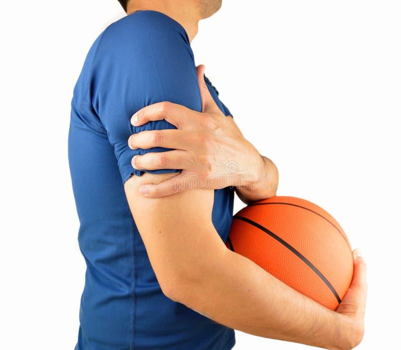 Jugador con dolor en hombro imagen de archivo
