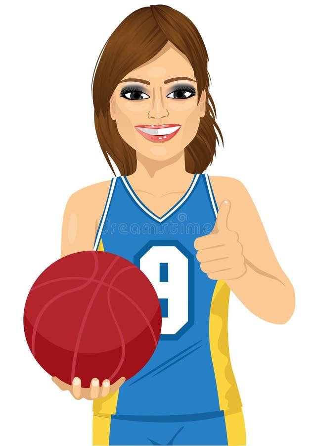 Jugador de básquet de sexo femenino que celebra la bola y que muestra los pulgares para arriba stock de ilustración