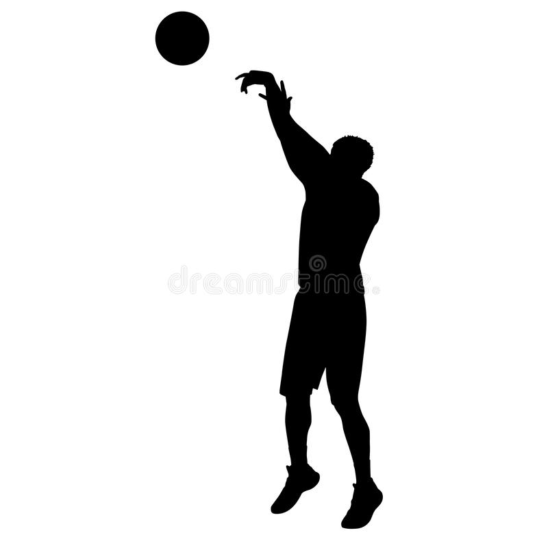 Jugador de básquet del tiroteo, silueta del vector ilustración del vector