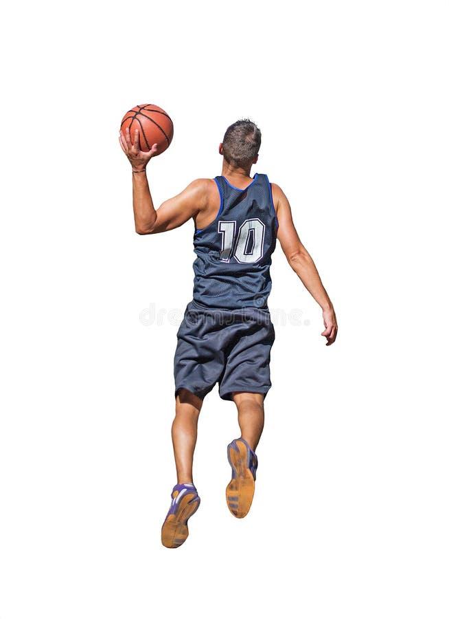 Jugador de básquet en blanco foto de archivo libre de regalías