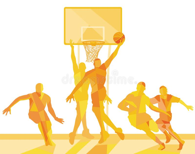 Jugador de básquet en el campo libre illustration