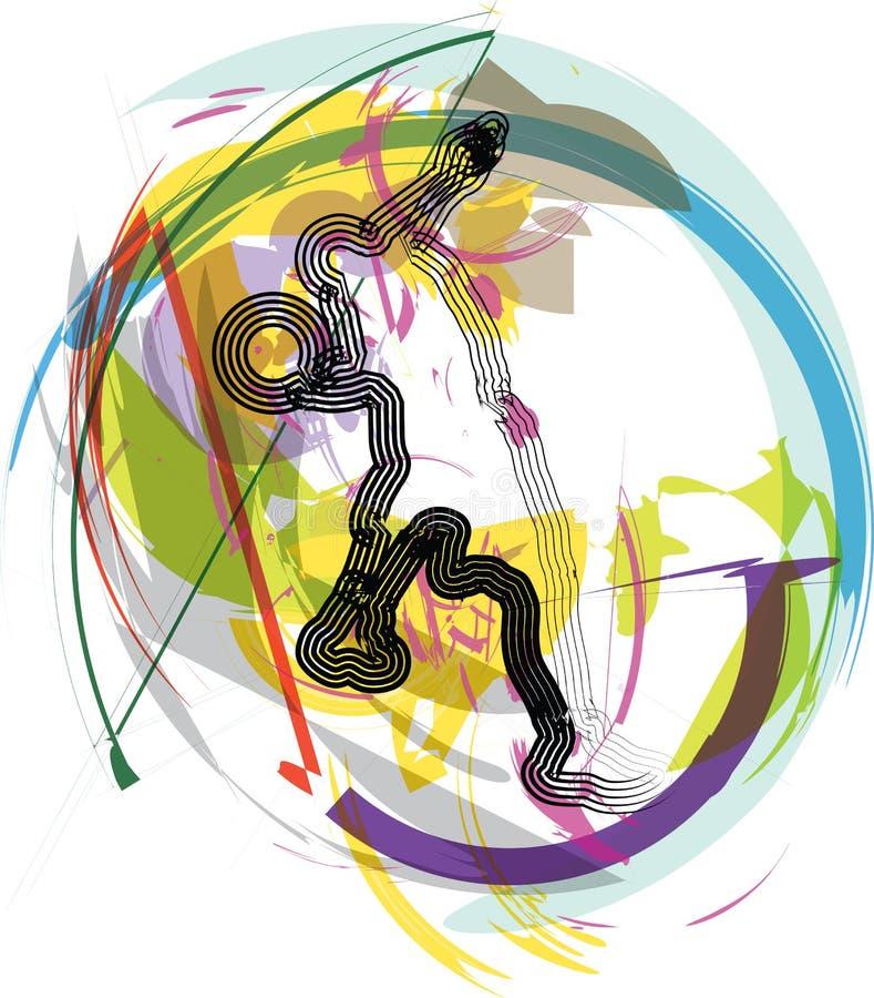 Jugador de básquet en la acción stock de ilustración