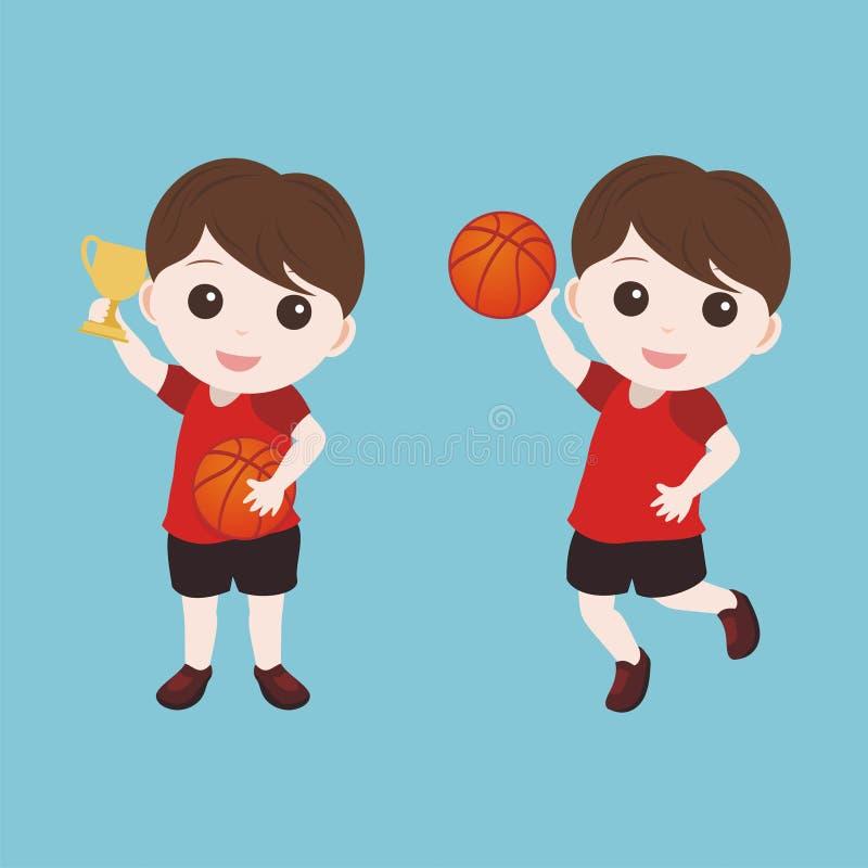 Jugador de básquet de la historieta con el carácter del niño pequeño stock de ilustración