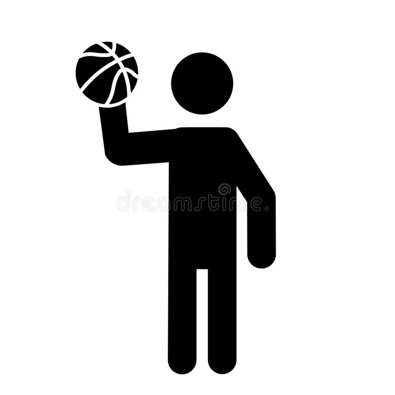 Jugador de b?squet que celebra un vector del icono del baloncesto ilustración del vector