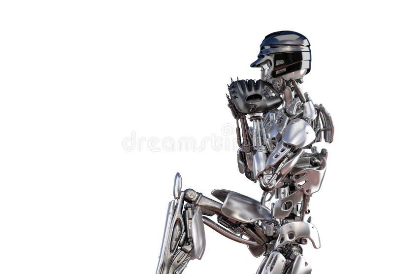 Jugador de béisbol del robot en la acción, aislada Concepto de la tecnología de inteligencia artificial del robot del Cyborg ilus stock de ilustración