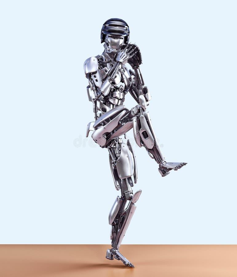 Jugador de béisbol del robot en la acción, aislada Concepto de la tecnología de inteligencia artificial del robot del Cyborg ilus libre illustration