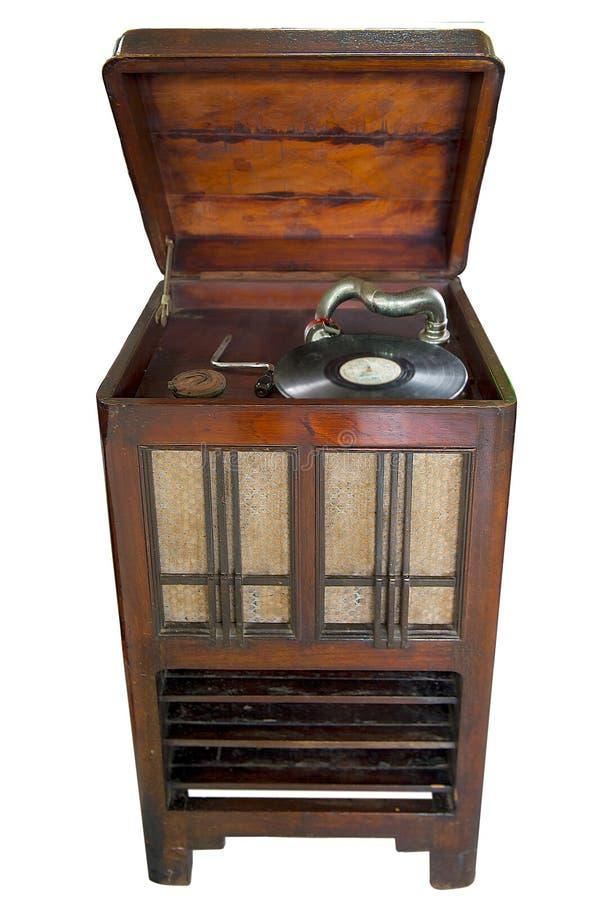 Jugador de disco de vinilo del vintage con la trayectoria de recortes foto de archivo