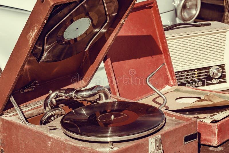 Jugador de disco de vinilo del vintage fotografía de archivo
