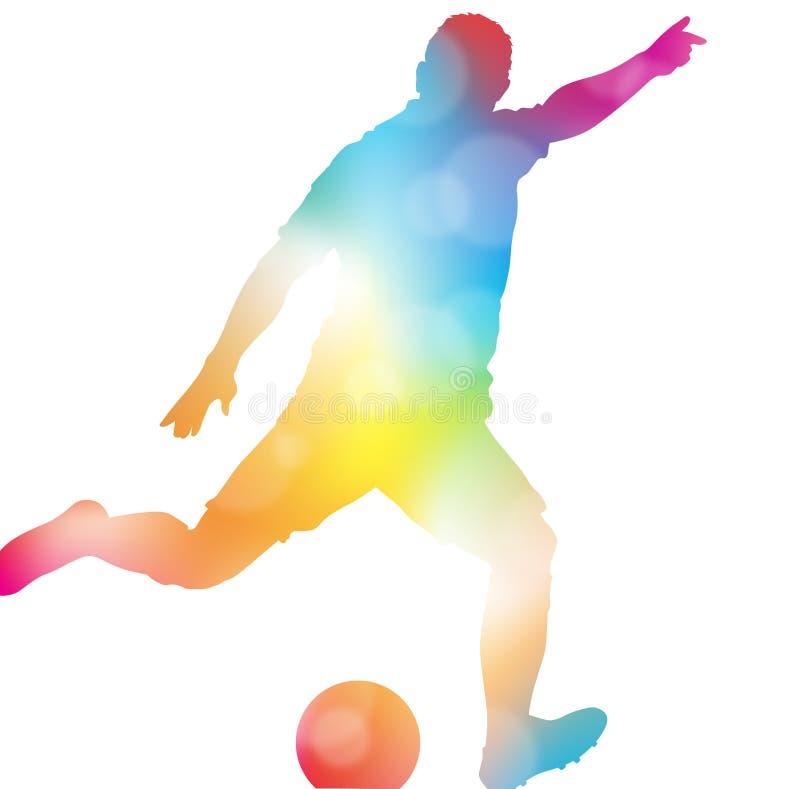 Jugador de fútbol abstracto que anota en neblina hermosa del verano libre illustration