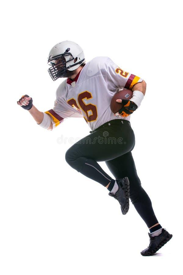 Jugador de fútbol americano barbudo en el ation fotografía de archivo