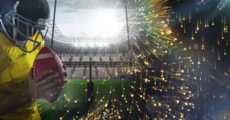 Jugador de fútbol americano con la transición del estadio fotos de archivo