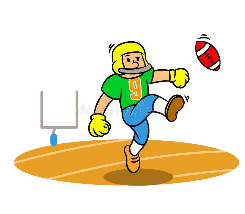 Jugador de fútbol americano de la historieta que golpea la bola con el pie en The Field stock de ilustración