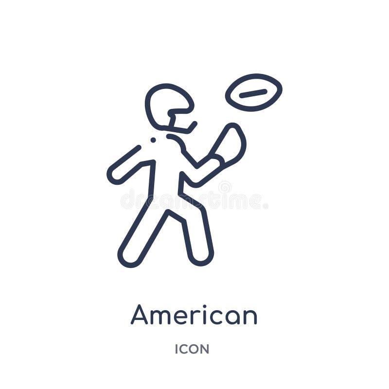 jugador de fútbol americano que coge el icono de la bola de la colección del esquema de los deportes Línea fina cogida del jugado stock de ilustración