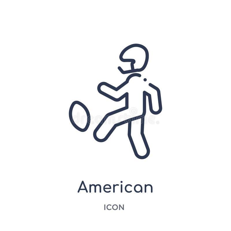 jugador de fútbol americano que golpea el icono de la bola con el pie de la colección del esquema de los deportes Línea fina juga stock de ilustración