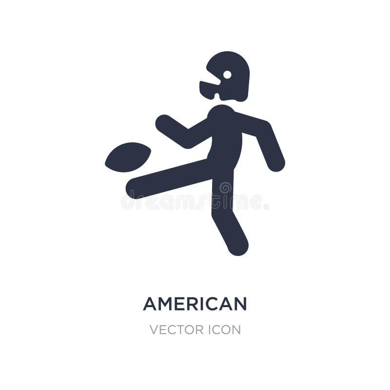 jugador de fútbol americano que golpea el icono de la bola con el pie en el fondo blanco Ejemplo simple del elemento del concepto stock de ilustración
