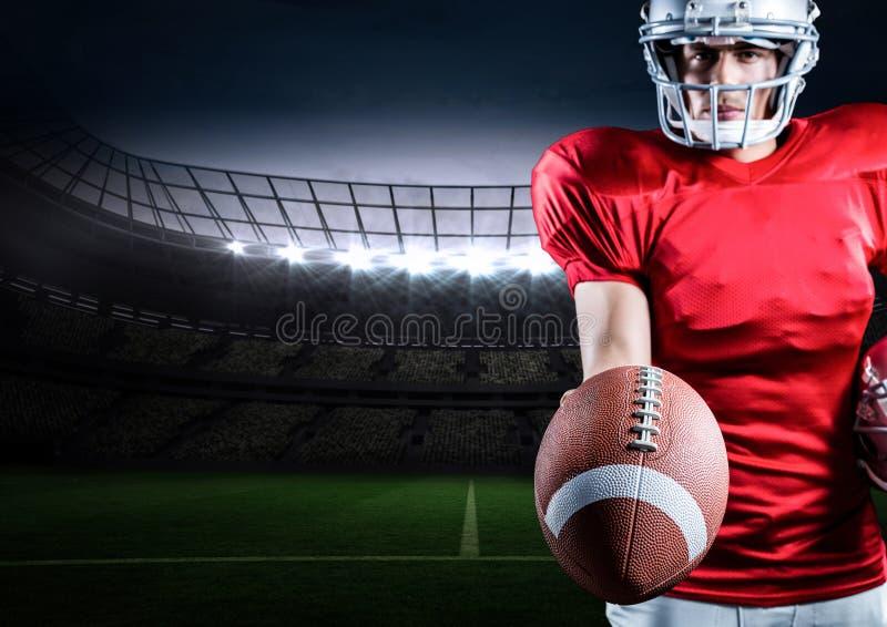 Jugador de fútbol americano que se opone con la bola a fondo digital generado imágenes de archivo libres de regalías