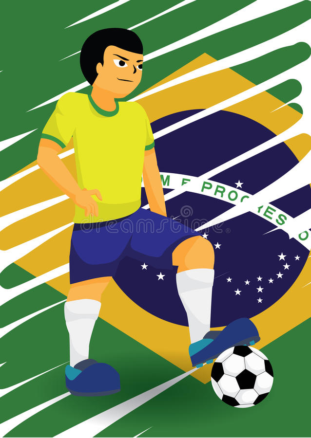 Jugador de fútbol brasileño ilustración del vector
