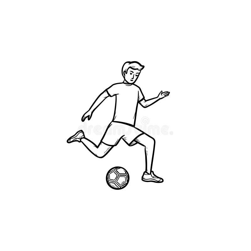 Jugador de fútbol con el icono dibujado mano del garabato del esquema de la bola ilustración del vector