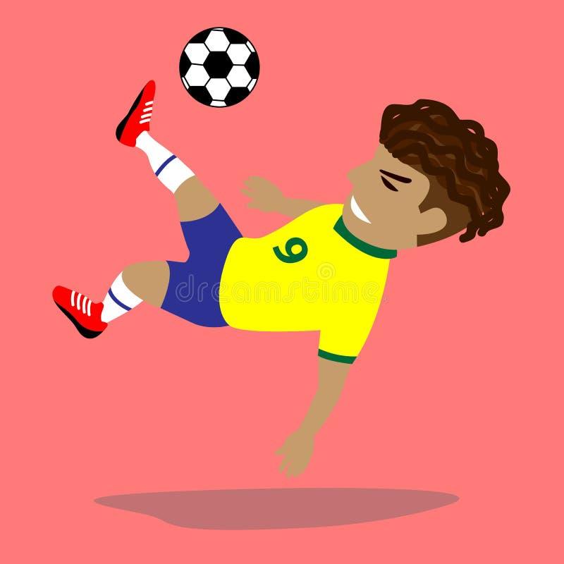 Jugador de fútbol con la bola stock de ilustración