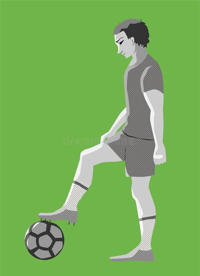 Jugador de fútbol con la bola en el campo, ejemplo del vector ilustración del vector