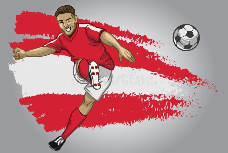 Jugador de fútbol de Austria con la bandera como fondo ilustración del vector