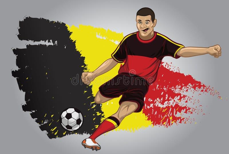 Jugador de fútbol de Bélgica con la bandera como fondo ilustración del vector