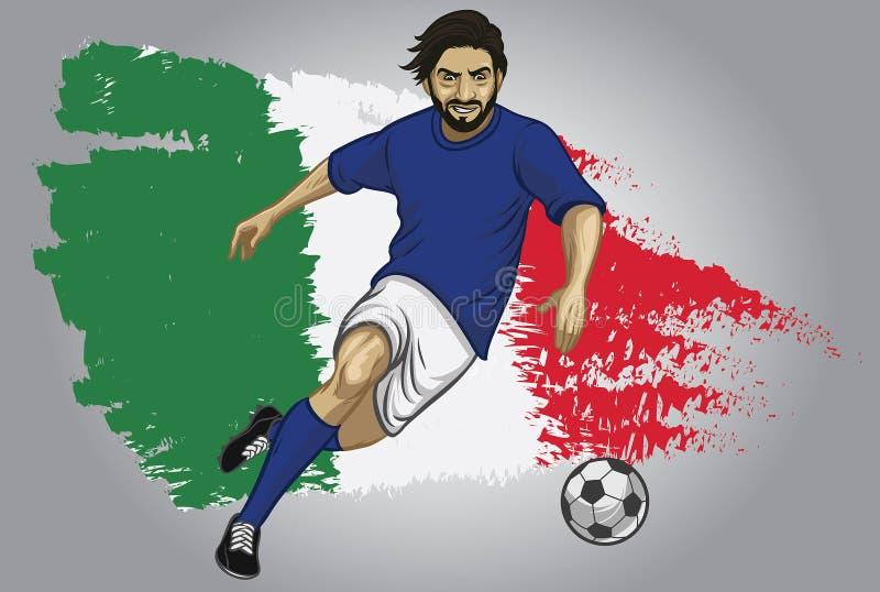 Jugador de fútbol de Italia con la bandera como fondo libre illustration