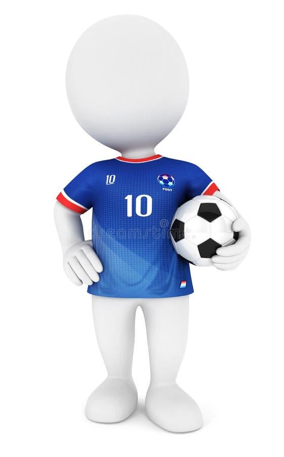 jugador de fútbol de la gente blanca 3d con el jersey azul stock de ilustración