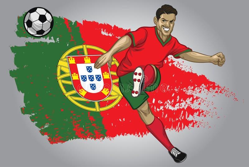 Jugador de fútbol de Portugal con la bandera como fondo stock de ilustración