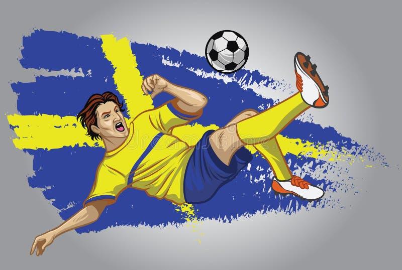 Jugador de fútbol de Suecia con la bandera como fondo libre illustration
