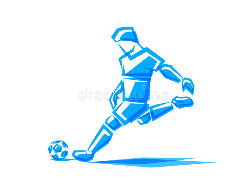 Jugador de fútbol del ejemplo del vector de las formas poligonales ilustración del vector