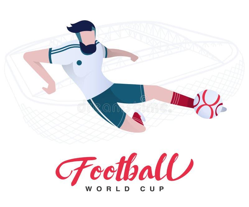 Jugador de fútbol en el mundial del fútbol del fondo del estadio Futbolista en Rusia 2018 ilustración del vector