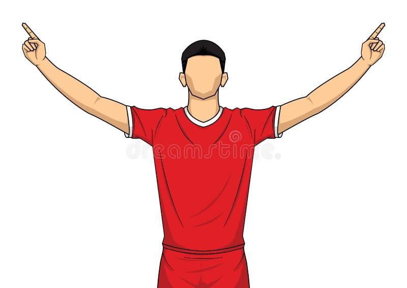 Jugador de f?tbol en el uniforme rojo celebraci?n feliz aislada en el fondo blanco libre illustration