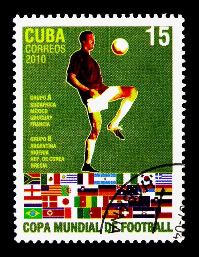 Jugador de fútbol, grupos A y B, mundial del fútbol - serie de Suráfrica, circa 2010 fotografía de archivo