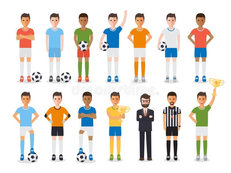 Jugador de fútbol, juego de caracteres del atleta del deporte del fútbol ilustración del vector