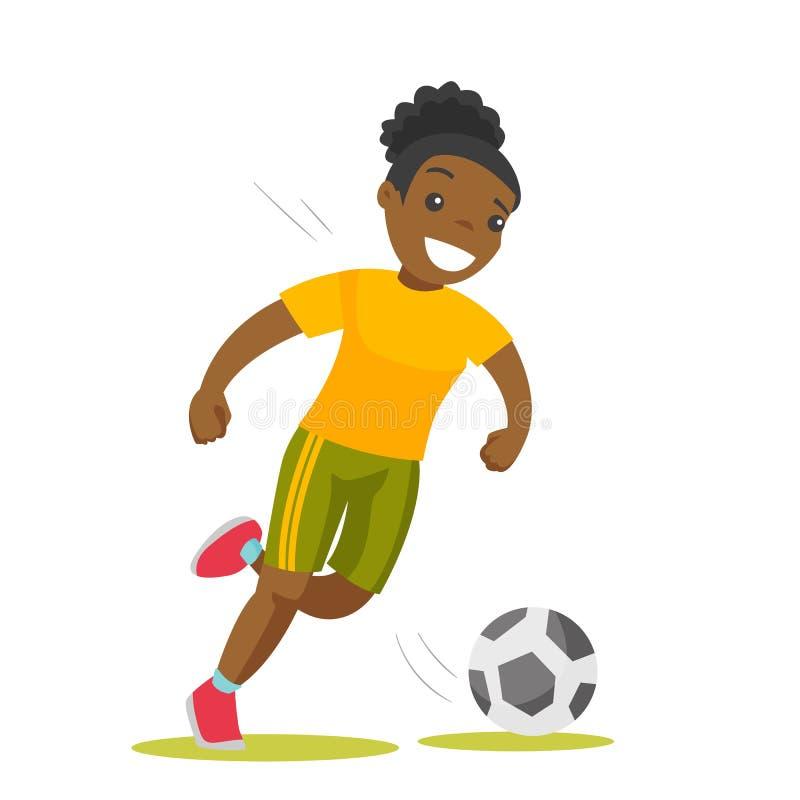 Jugador de fútbol negro que golpea la bola con el pie stock de ilustración