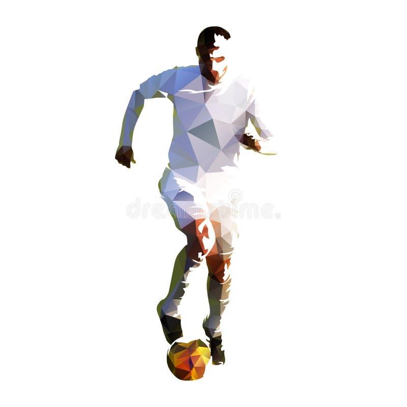 Jugador de fútbol poligonal en el jersey blanco que corre con la bola libre illustration