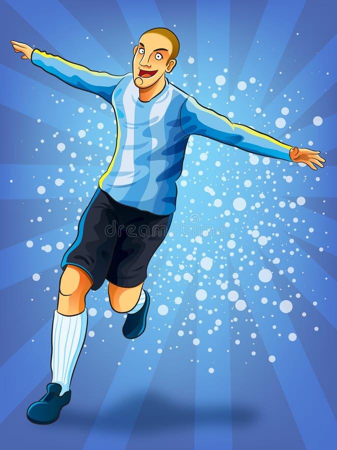 Jugador de fútbol que celebra meta stock de ilustración