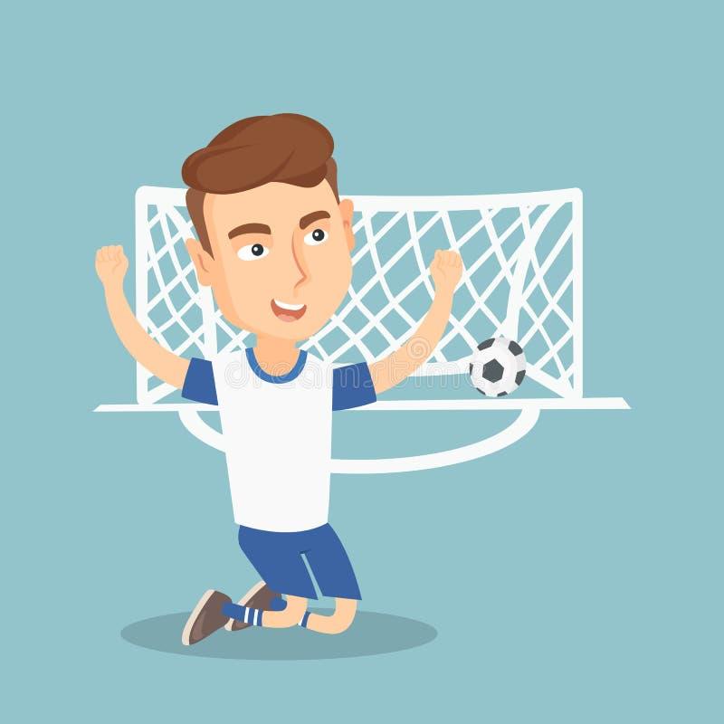 Jugador de fútbol que celebra una meta stock de ilustración