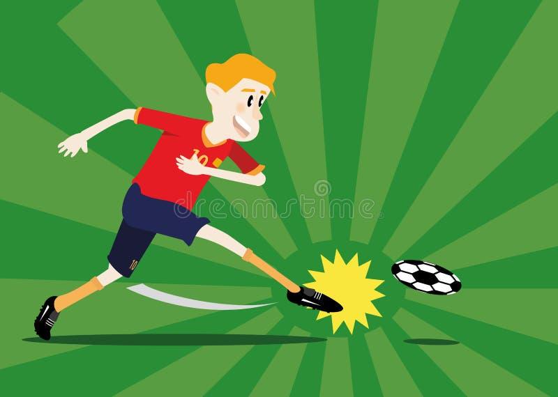 Jugador de fútbol que tira una bola libre illustration